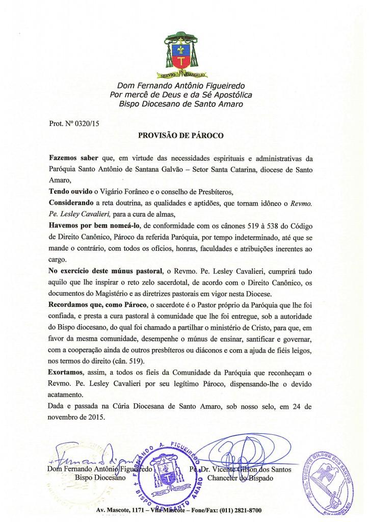 PROVISÃO DE PÁROCO DA PARÓQUIA SANTO ANTÔNIO DE SANTANA GALVÃO