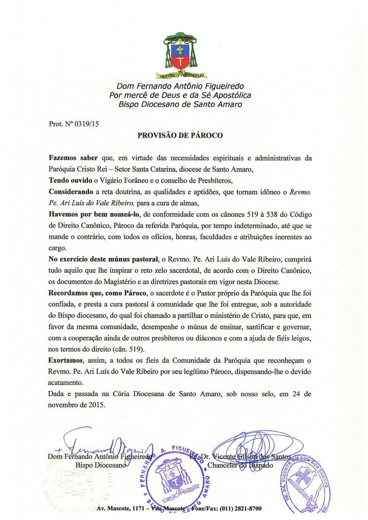 PROVISÃO DE PÁROCO DA PARÓQUIA CRISTO REI