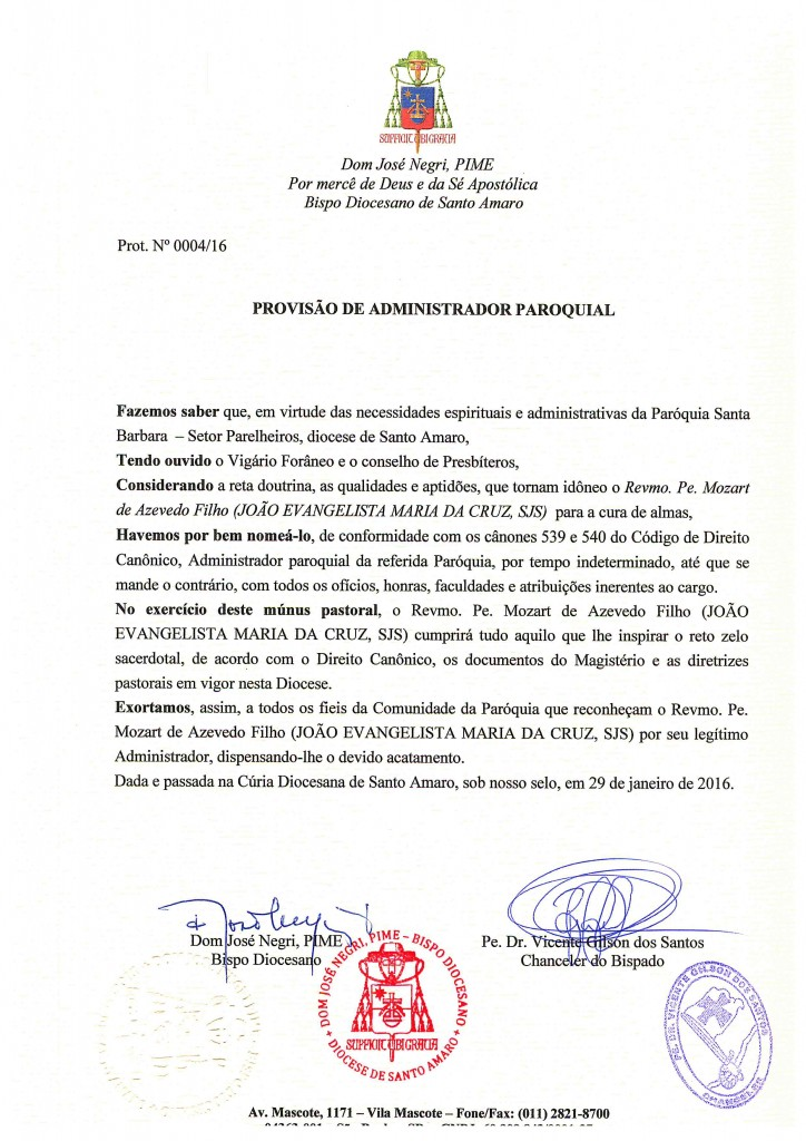 PROVISÃO DE ADM. PAROQUIAL STA BARBÁRA