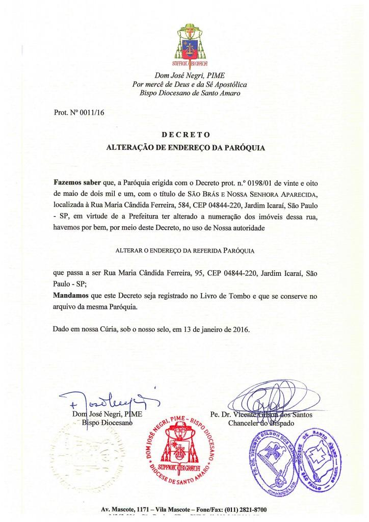 Decreto de alteração de endereço paróquia S Brás